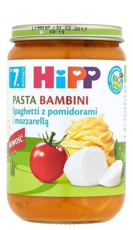Hipp Pasta Bambini Spaghetti z Pomidorami i Mozarellą Bio