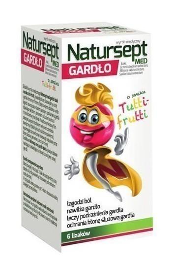 Natur-Sept Gardło Lizaki o smaku tutti-frutti 6 szt.