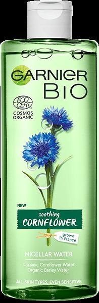 Butelka kojącego płynu micelarnego Garnier Bio Bławatek