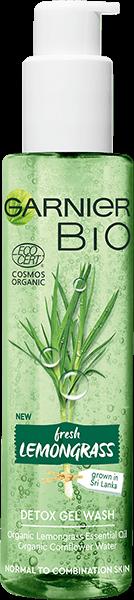 Butelka detoksykującego żelu myjącego Garnier Bio Trawa cytrynowa